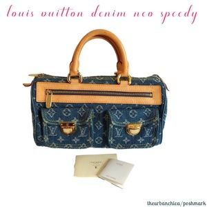 b1994a7be739 Louis Vuitton · LOUIS VUITTON Blue Denim Monogram Neo Speedy Bag